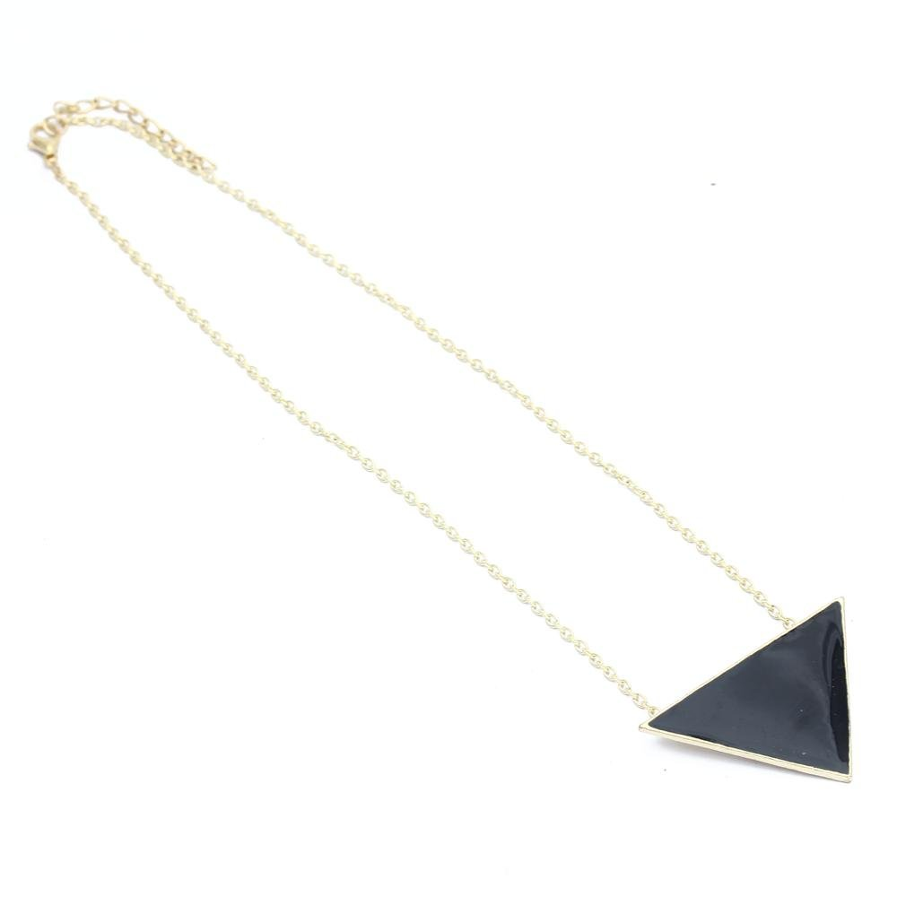 2x or collier ras du cou avec pendentif triangle email noir 410x29mm elegante wt ebay. Black Bedroom Furniture Sets. Home Design Ideas