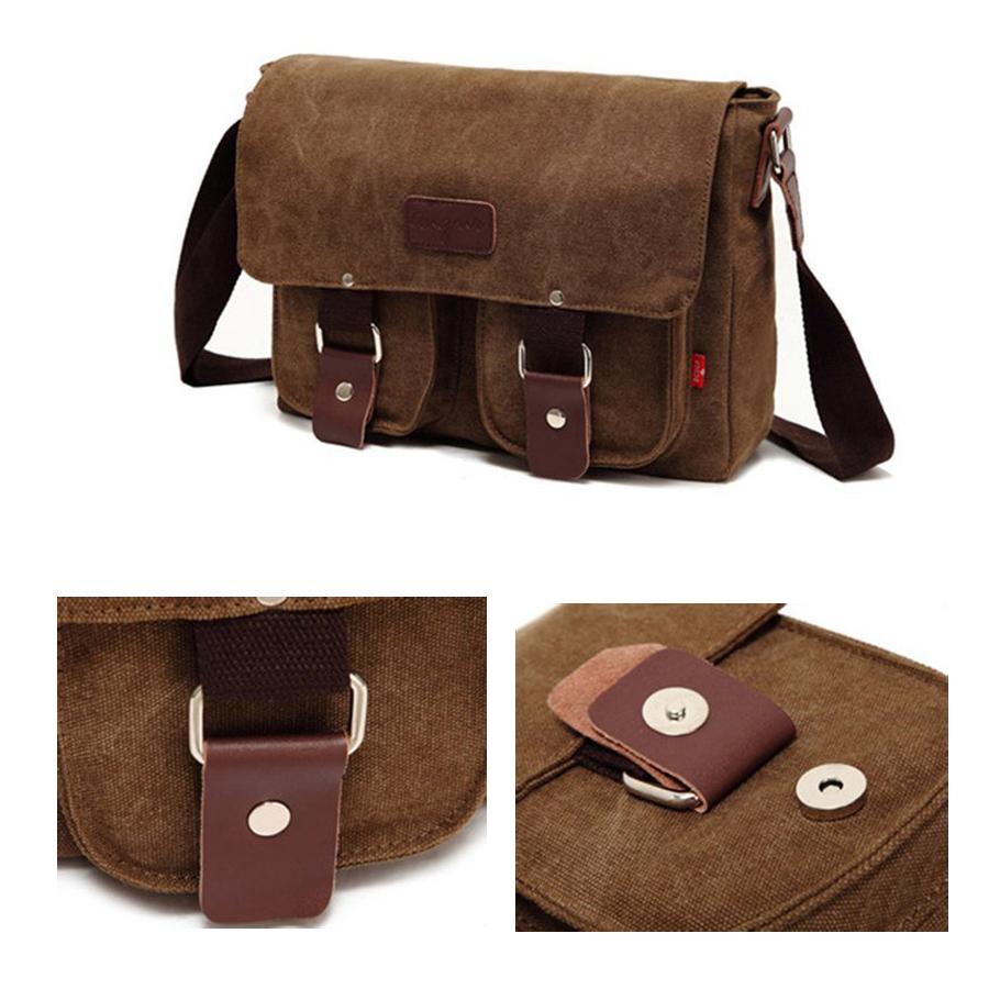 toile cuir cartable militaire epaule sac a bandouliere sac de messager brun wt ebay. Black Bedroom Furniture Sets. Home Design Ideas