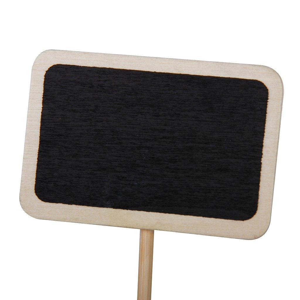 5x 10pcs mini tableau noir en bois avec base pour parties for Tableau noir en bois