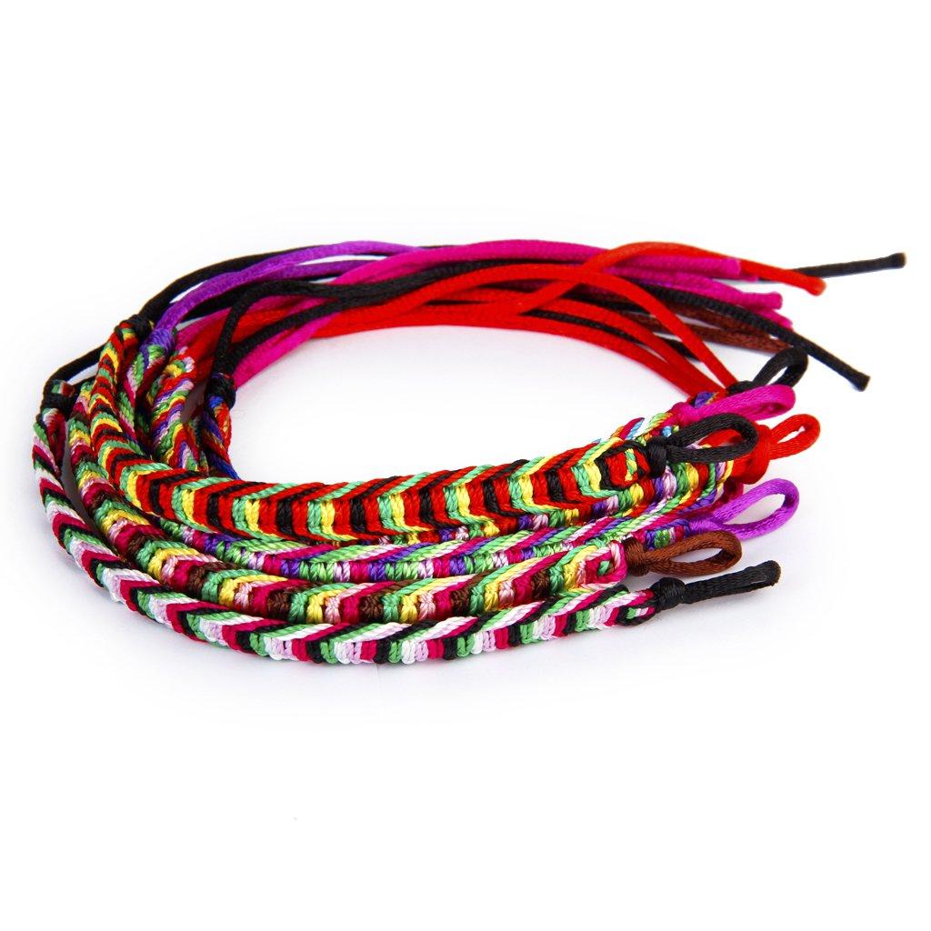 9 x colorful handmade braided friendship bracelets ankle. Black Bedroom Furniture Sets. Home Design Ideas
