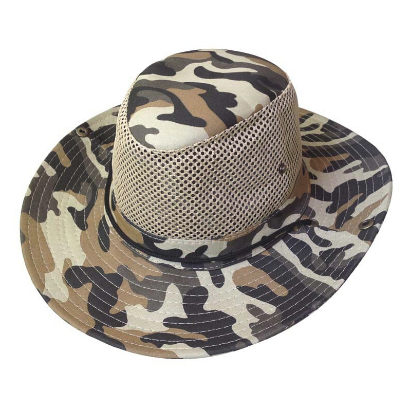 Men wide full brim camouflage mesh design fishing hiking for Mesh fishing hats