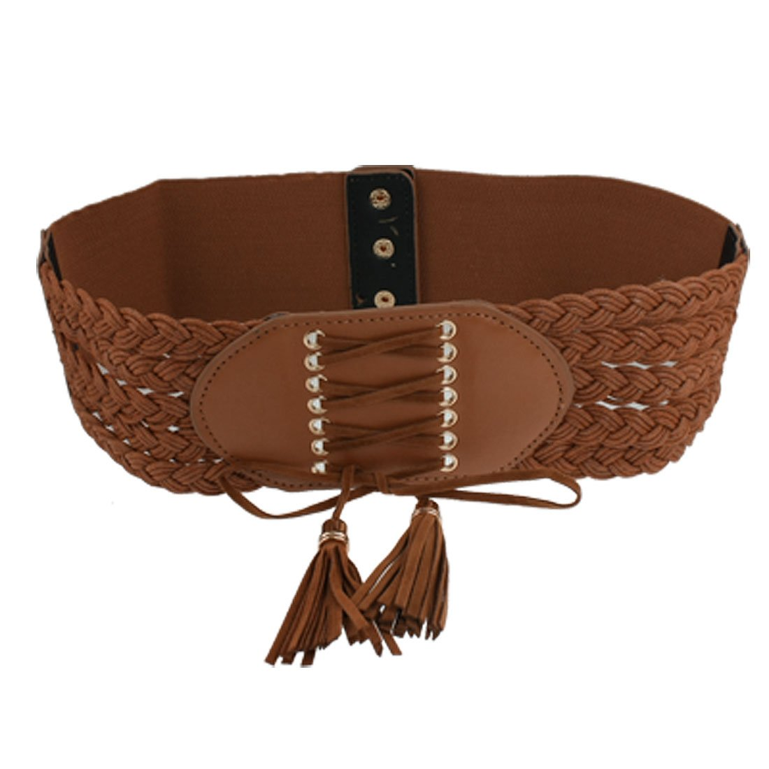 brown faux leather buckle stretchy wide band cinch belt
