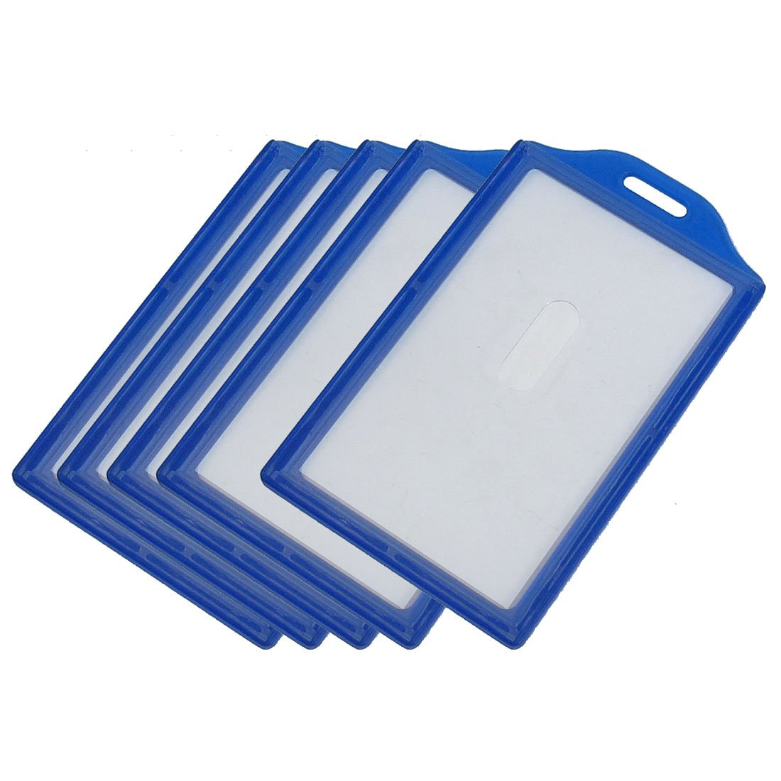 5X Vertical Business ID Badge Card Holders, 5 Pcs, Clear Blue W2N9