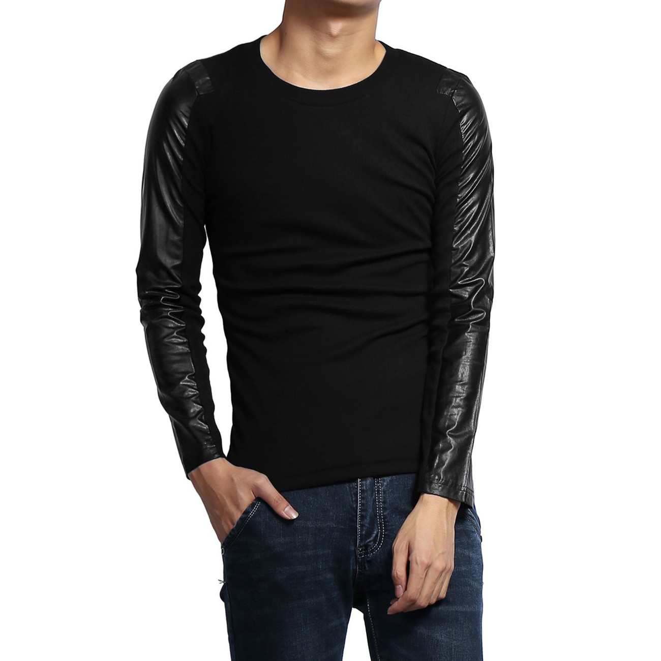Mens Long Sleeve T Shirts Leather Sleeves Round Neck Shirt