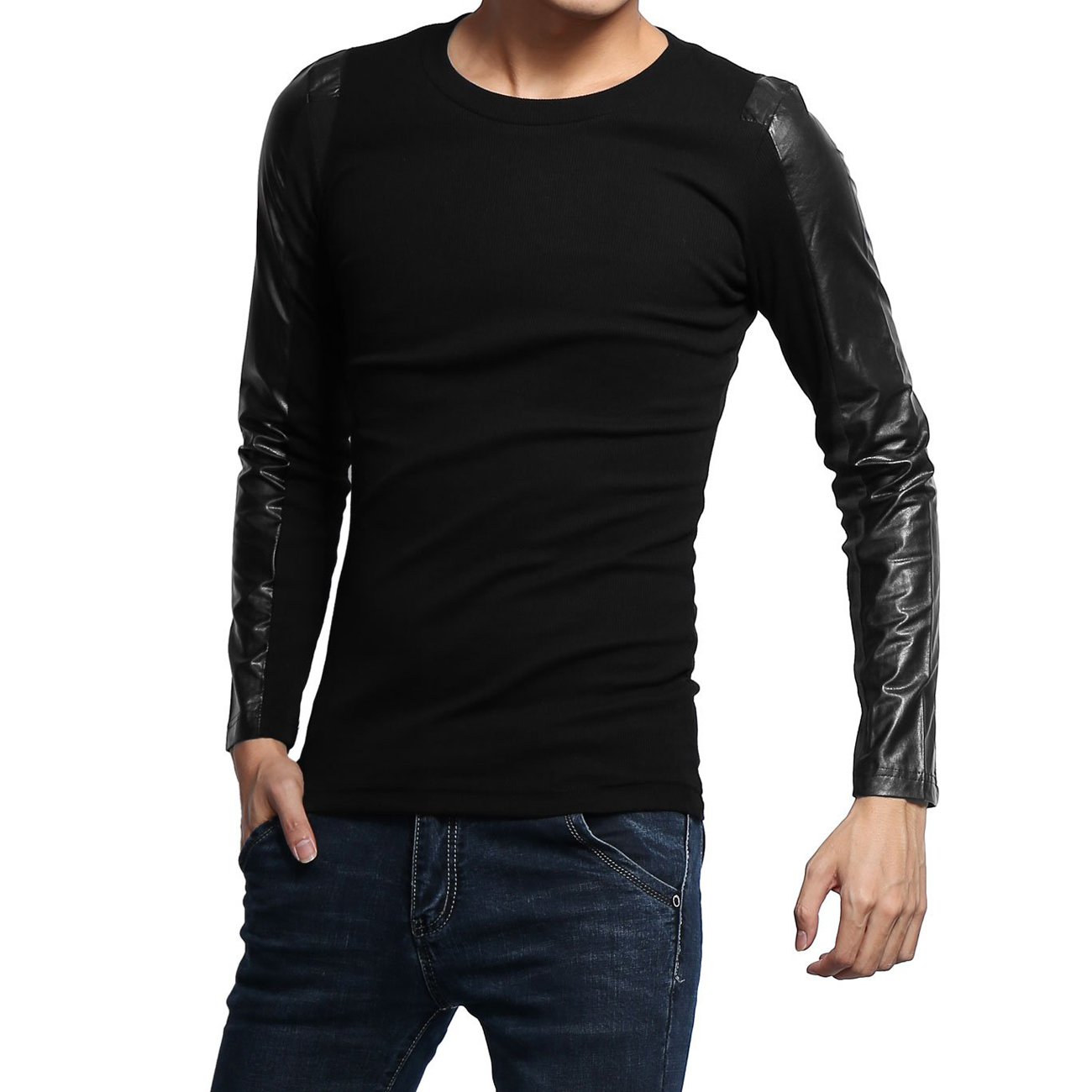 Wholesale Leather Sleeves Shirt Men
