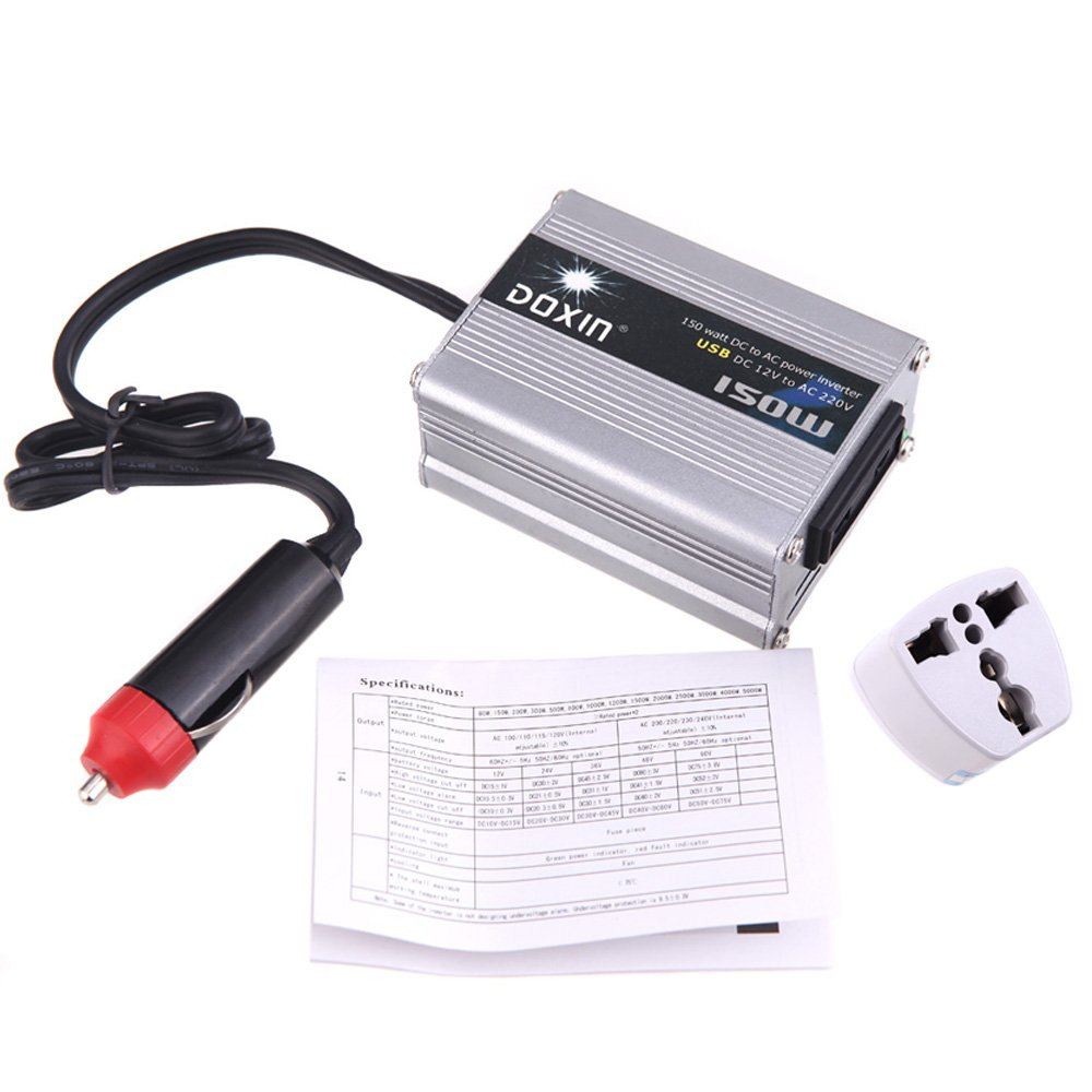 DOXIN 150W (max.) WATT DC 12V to 220V portable AC car