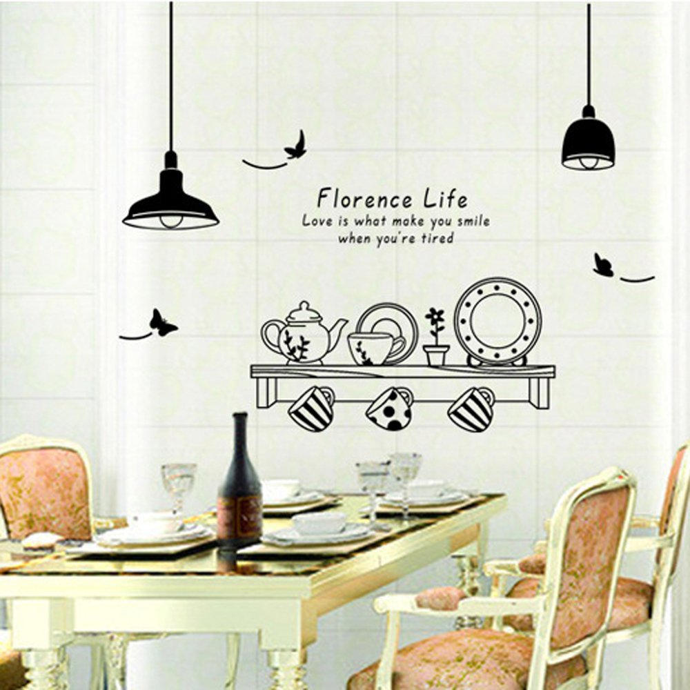 large coffee kitchen wall quote stickers cafe vinyl