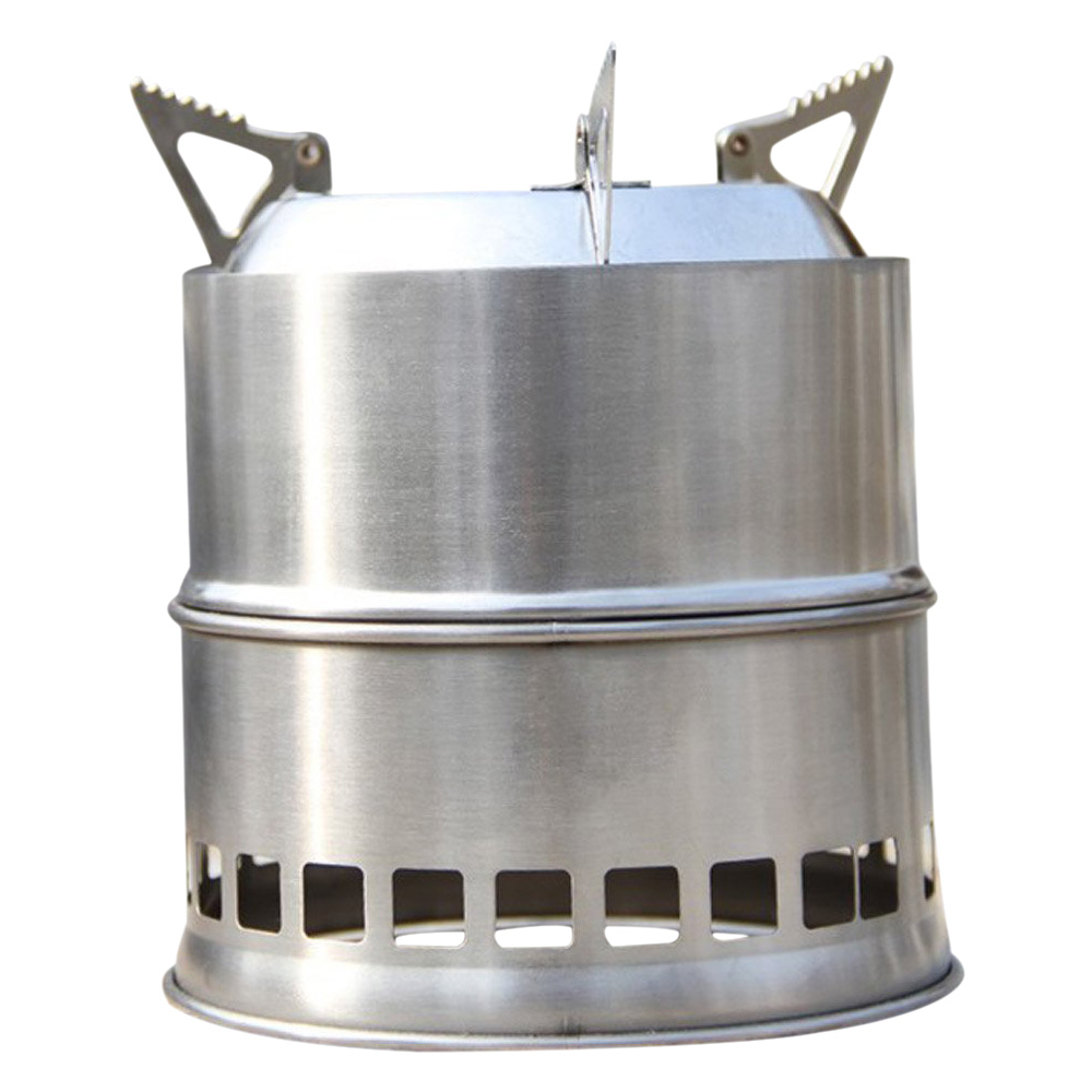 Stainless steel wood stove solidified alcohol stove for Outdoor wood cooking stove