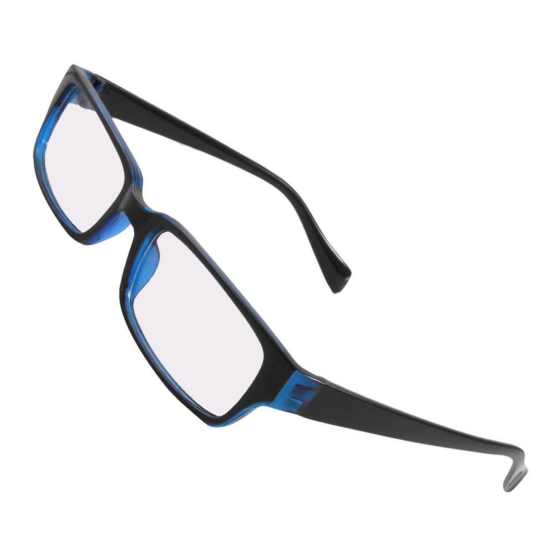 ST Unisex Black Blue Plastic Frame Arms Clear Lens Plain ...