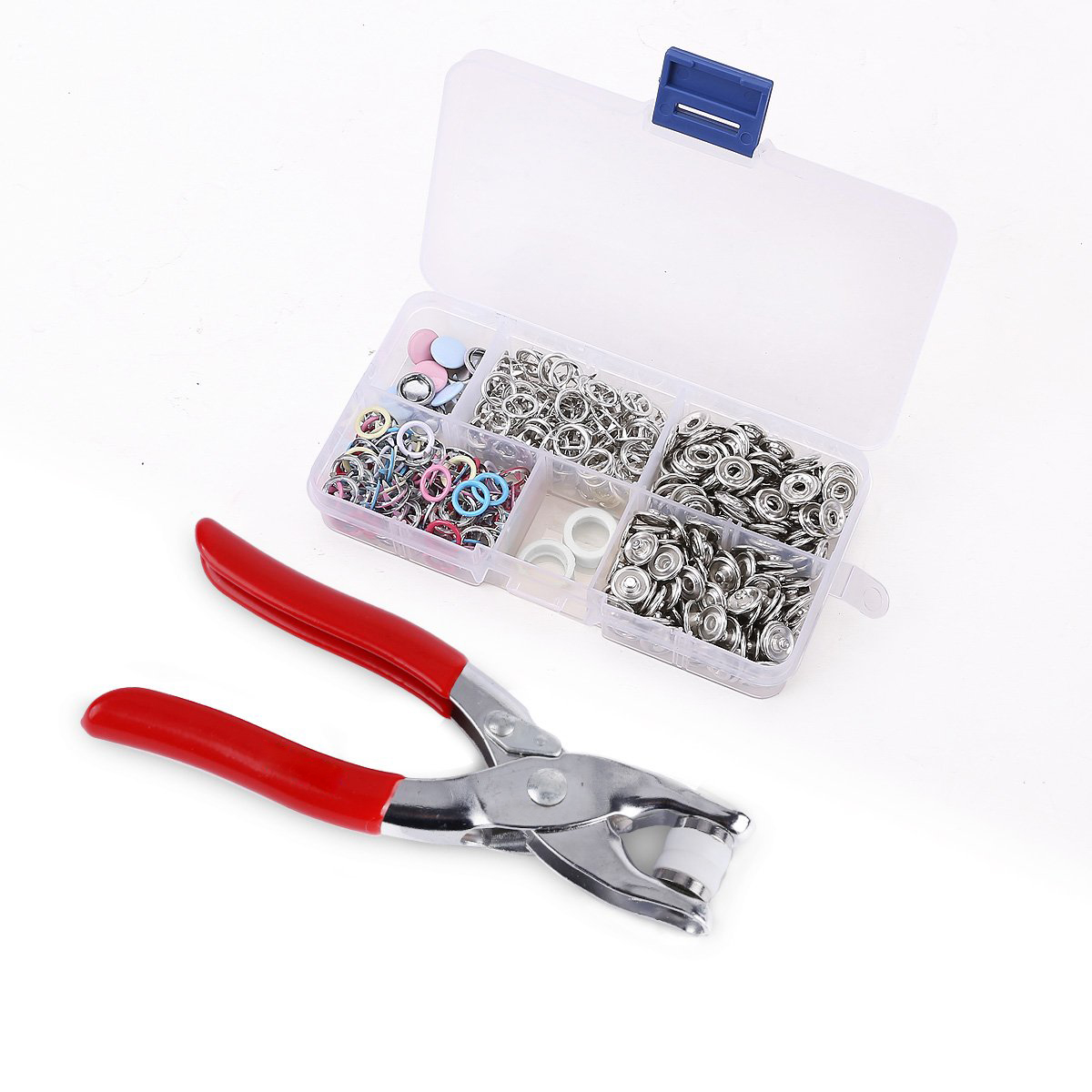 Hair accessories storage case - 110pcs Push Buttons 5 Hollow Solid Claws Clip Storage Box 5 Claws Hollow Button X 100 Solid Button Claws 5 X 10 Set Of 5 Button Claws Pliers X 1