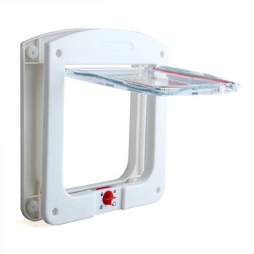 Chatiere Porte en Plastique Blanc 4 Positions pour Chat Chien WT