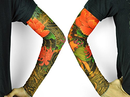 3 4 Tattoo Sleeve Cover: 6pcs Tattoos Temporary Arm Cover Sleeves For Fancy Dress