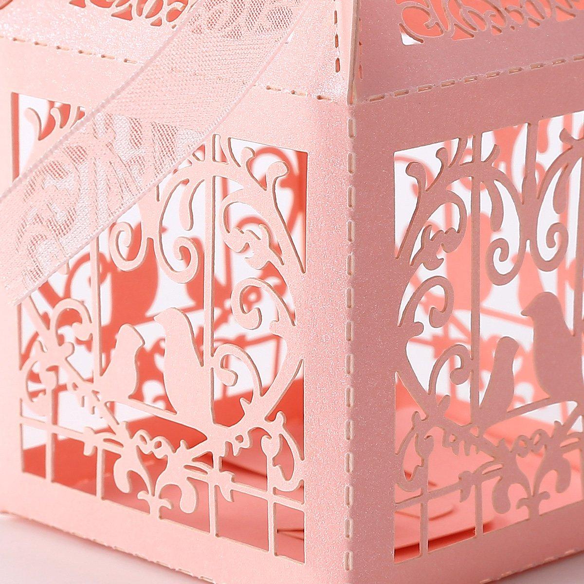 25pcs boite a dragees bonbons coeur oiseaux rose pour mariage wt. Black Bedroom Furniture Sets. Home Design Ideas