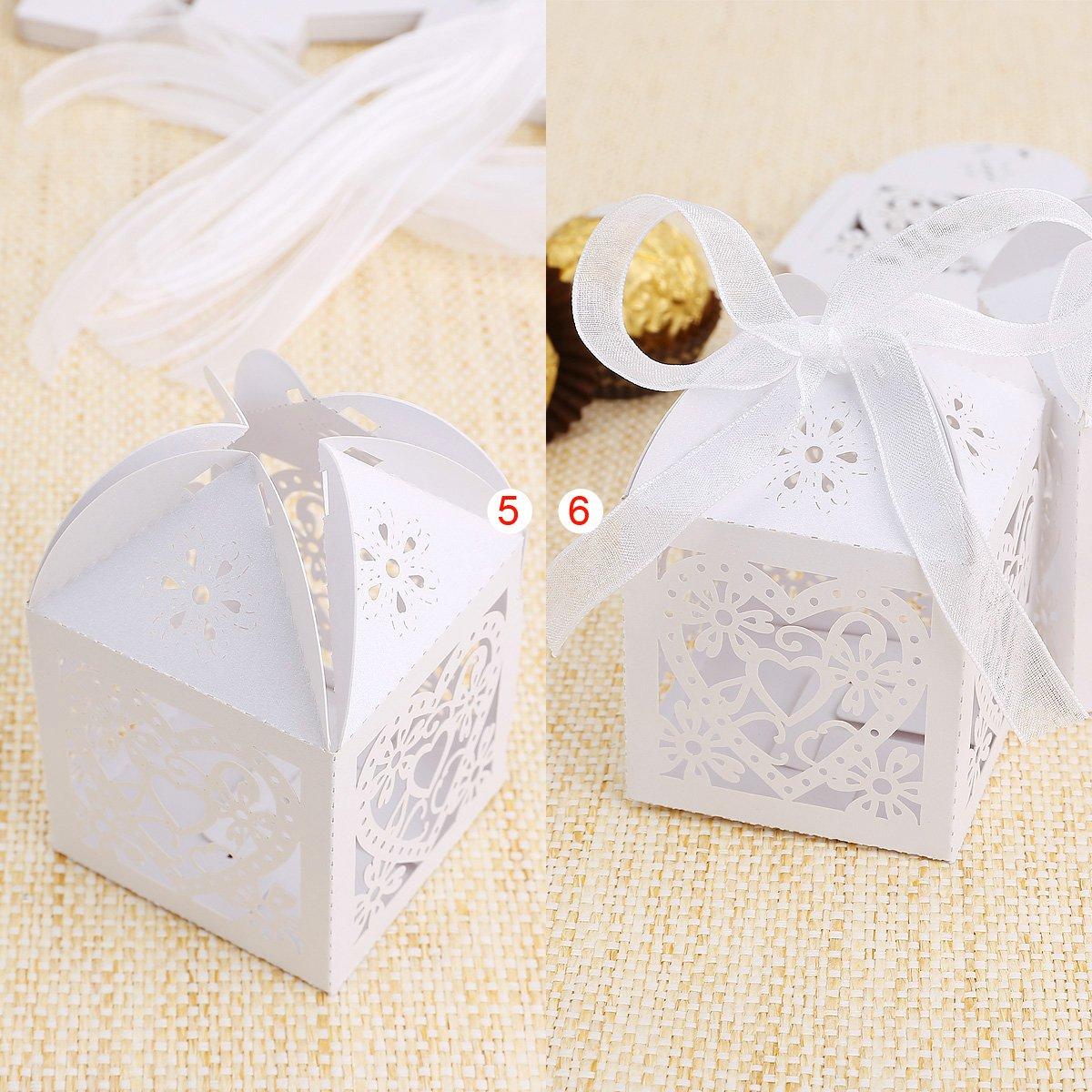 25pcs boite a dragees bonbons coeur oiseaux blanc pour mariage wt ebay. Black Bedroom Furniture Sets. Home Design Ideas