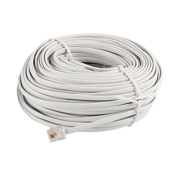W2N9 5X 30M 98ft RJ11 6P4C Telephone Extension Cable Connector Off White W2N9
