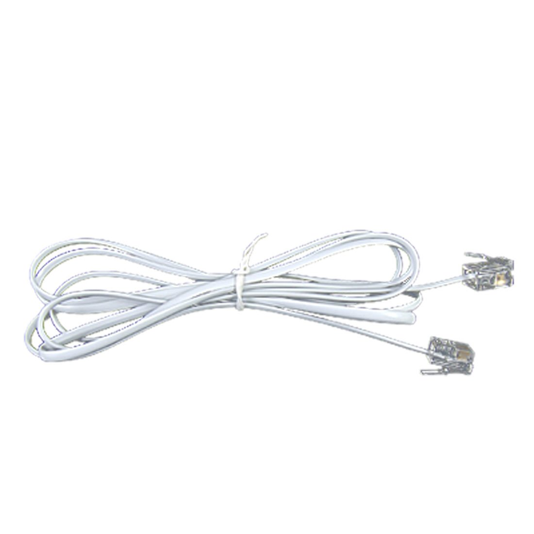 rj11 to rj11 male to male telephone cable connector white dw new. Black Bedroom Furniture Sets. Home Design Ideas