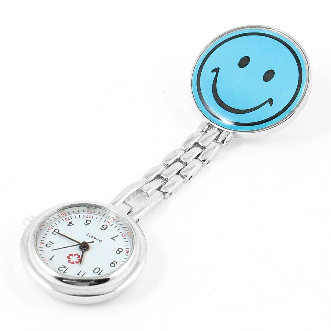 5X Portable Nurse Nursing Blue Smile Pattern Clip Chain Watch W2N9