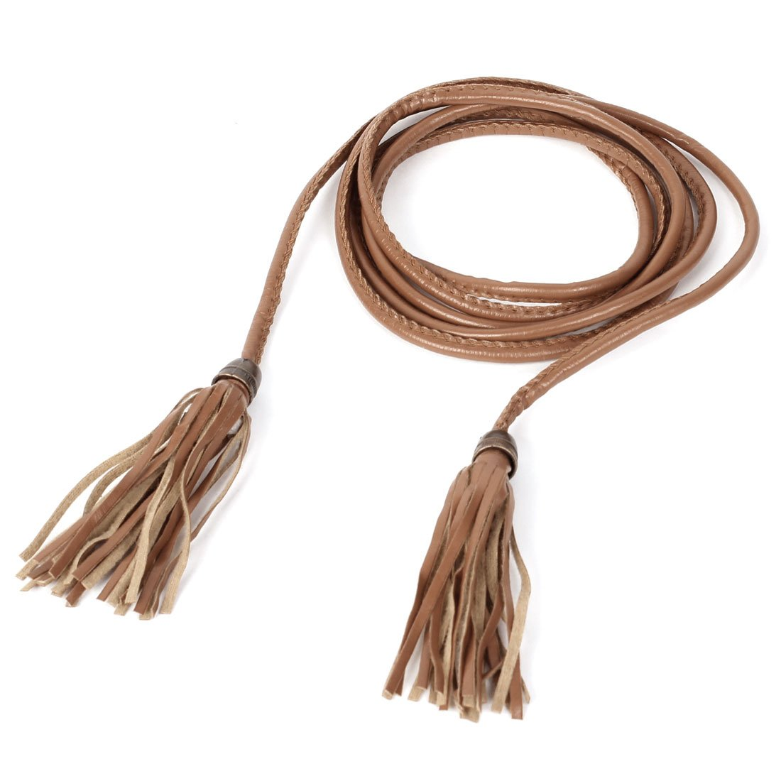 soft faux leather tassel decor self tie waist belt