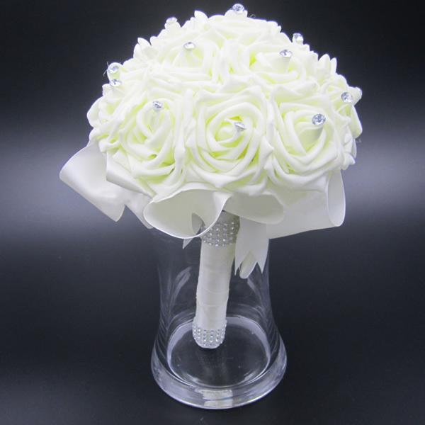 Artificial Bridal Bouquet White : Wedding artificial rose white bridal bouquets ribbon