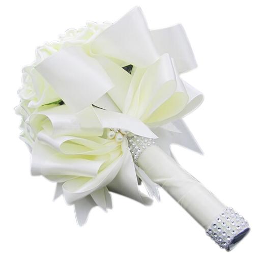 Artificial Bridal Bouquet White : Wedding artificial rose white bridal bouquets ribbon fk