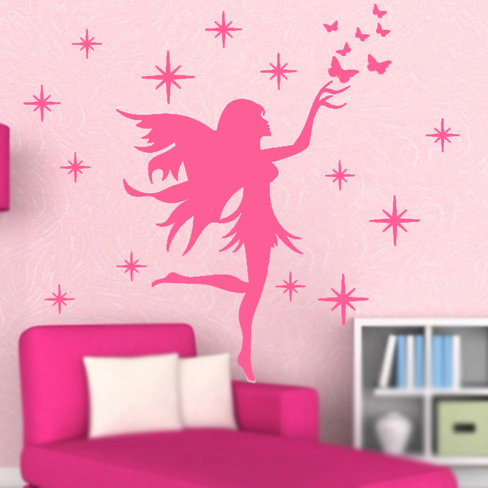 fairy stars butterflies removable kids wall stickers girls