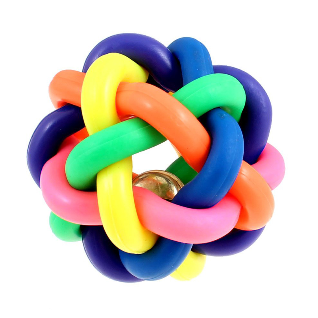 Toy Rubber Balls : Cm diameter cord woven jingle bell pet dog play rubber
