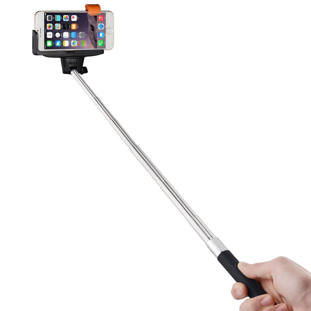 wired shutter extension selfie stick for iphone black ct ebay. Black Bedroom Furniture Sets. Home Design Ideas