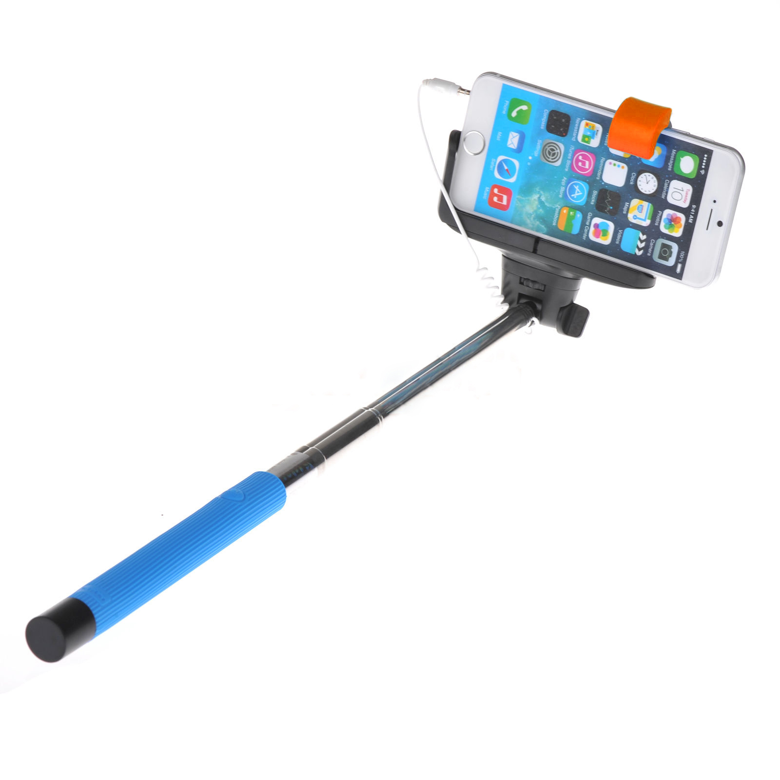 wired shutter extension selfie stick for iphone blue wd. Black Bedroom Furniture Sets. Home Design Ideas