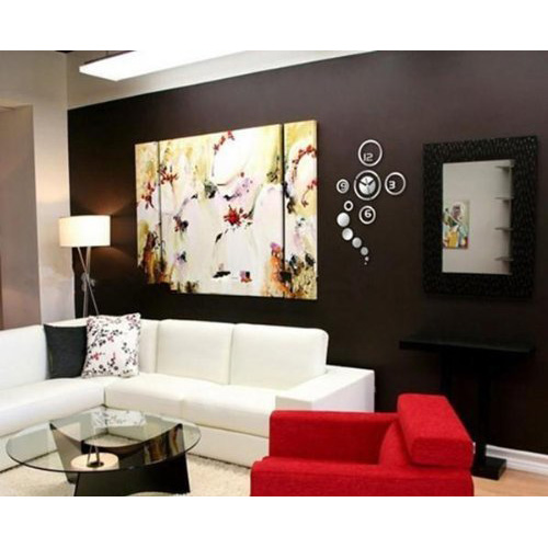 home decorative wall clock design large mirrors living room silver wd