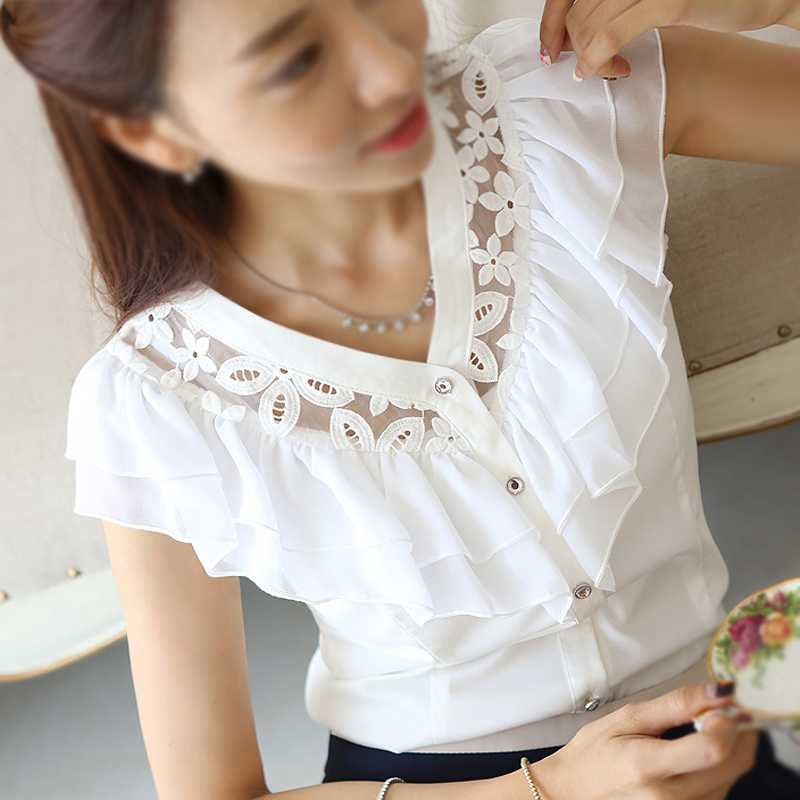 fashion-women-summer-Chiffon-Lace-Blouse-falbala-casual-base-lady-shirt-Hollow