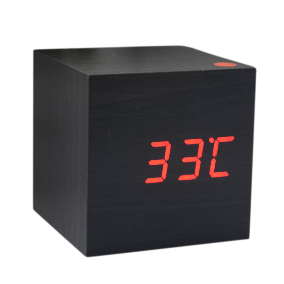 wood cube led alarm desk clock room temperature wood bf ebay. Black Bedroom Furniture Sets. Home Design Ideas