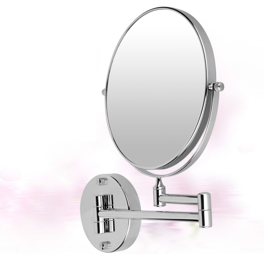 Chrome 8 miroir mural ronde miroir de courtoisie miroir for Miroir 7 ans de malheur