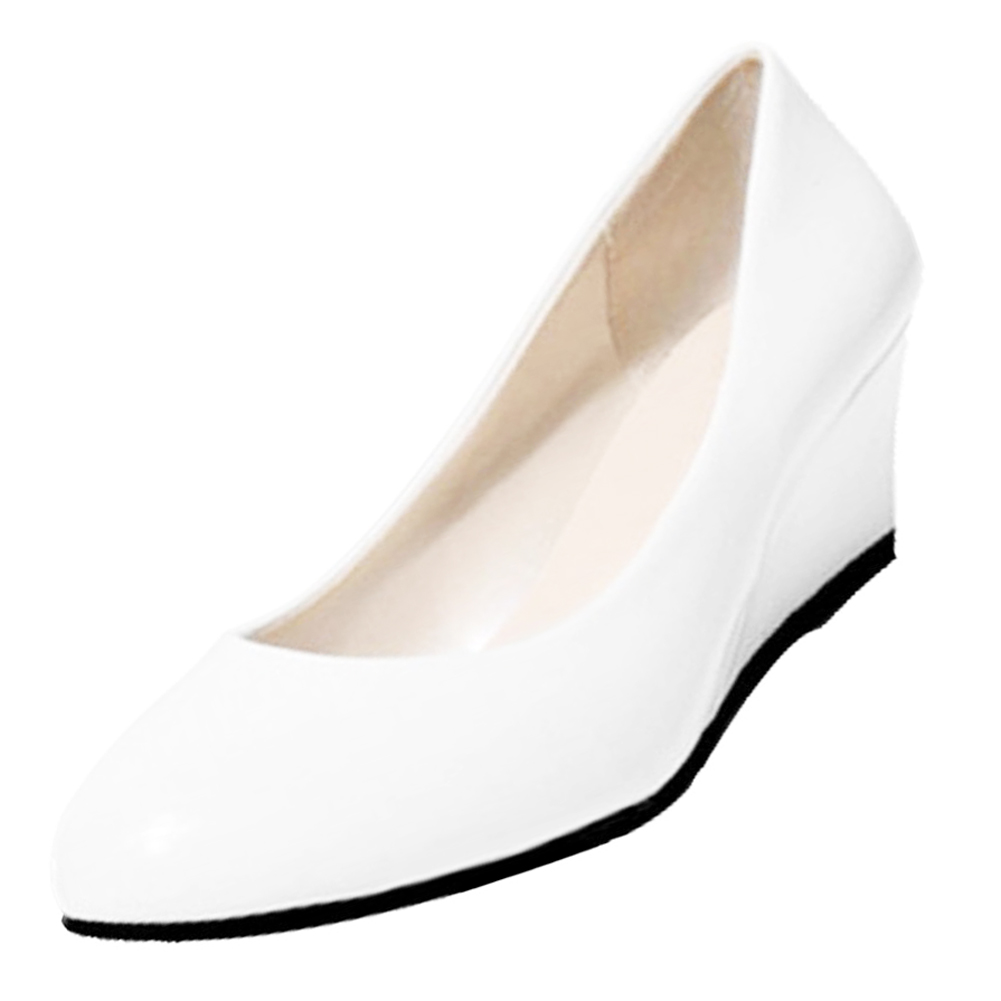 wedges shoes pointed toe patent leather work