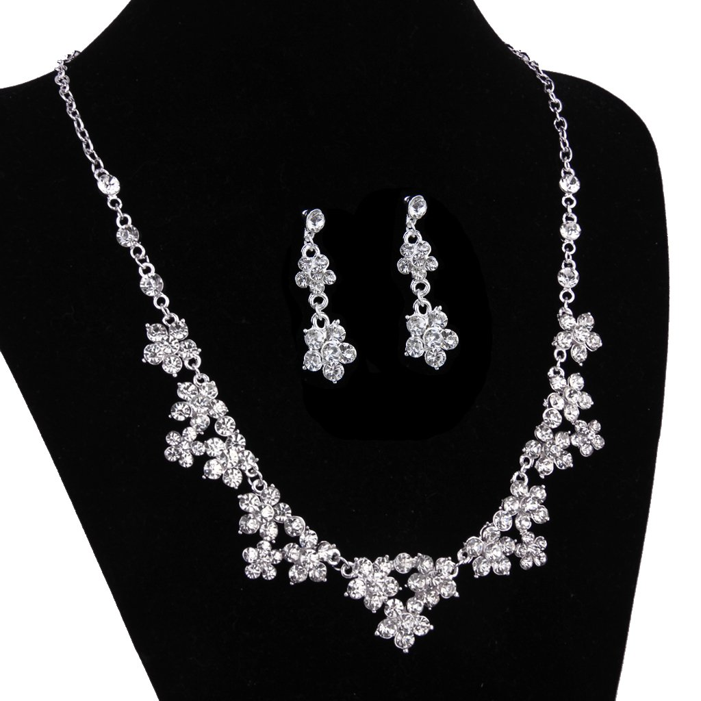 Elegant bridal bridesmaid wedding party jewelry flower for Bridesmaid jewelry sets under 20