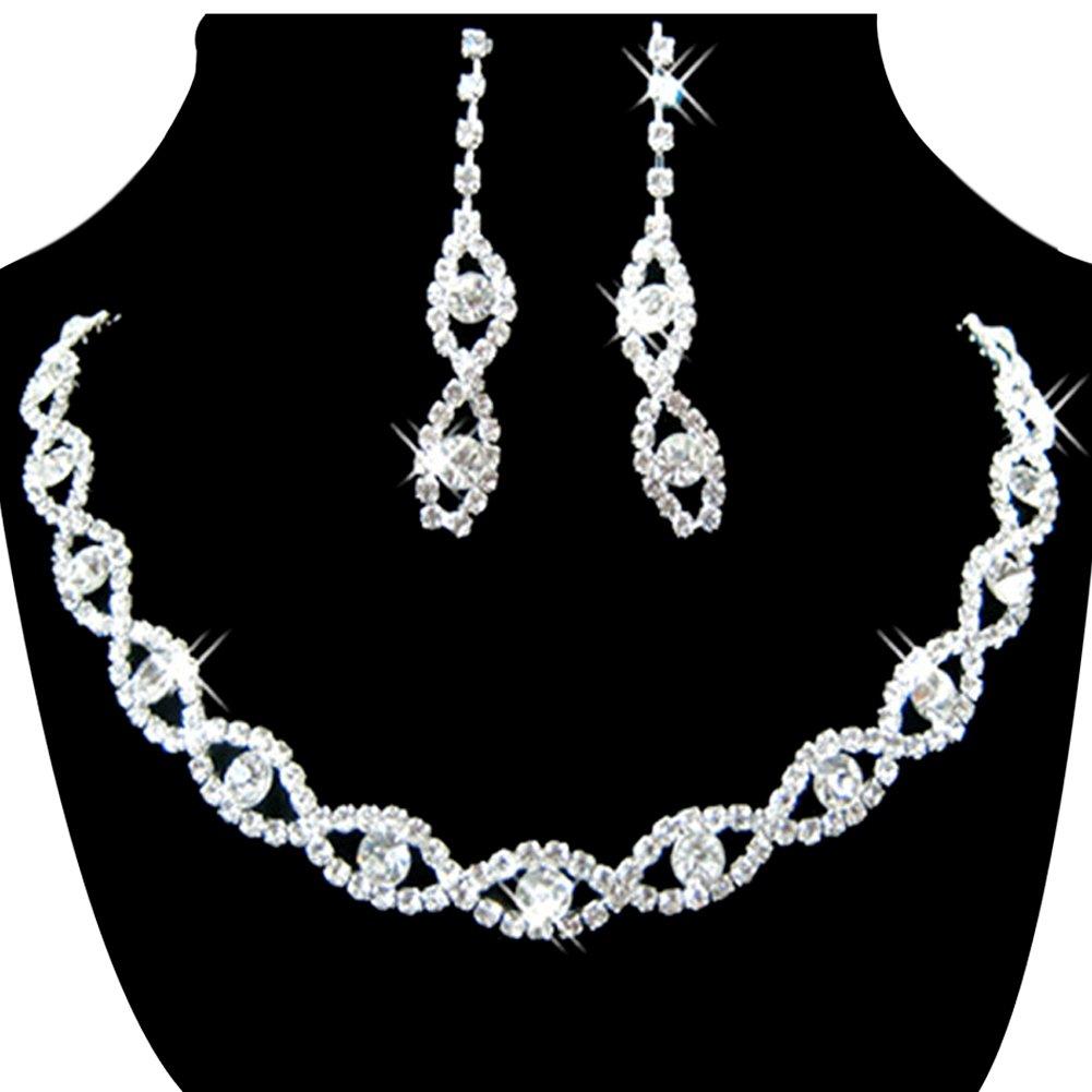s jewelry set bridal wedding 8 shape rhinestone