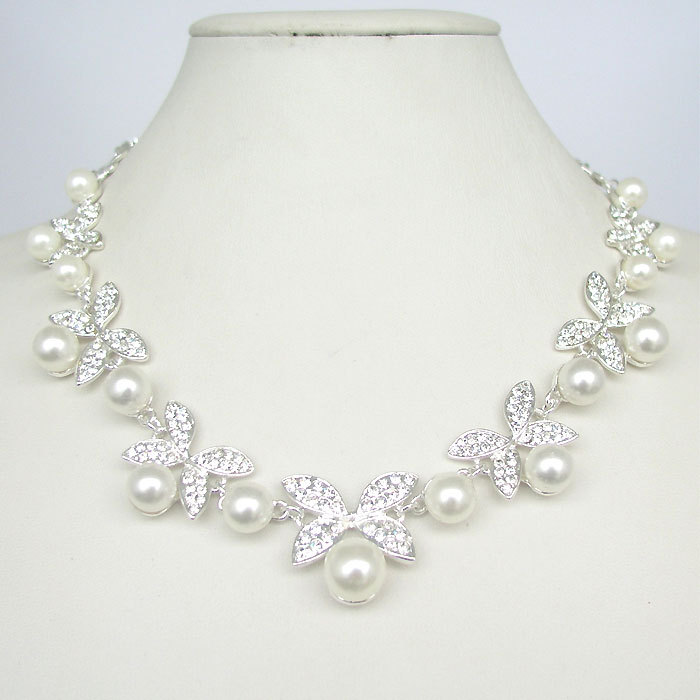 Wedding Jewelry White Butterfly Shaped Crystal Pearl Necklace Earring Set T1