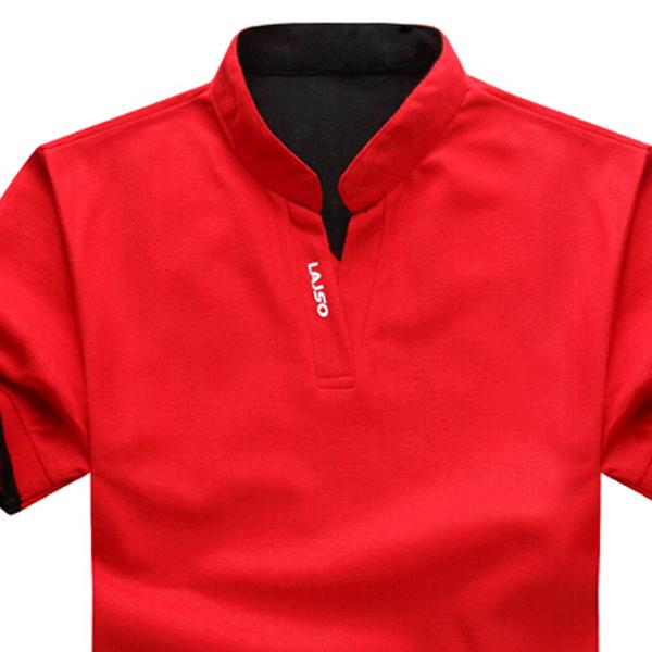 mens casual sports slim mandarin collar t shirt cotton