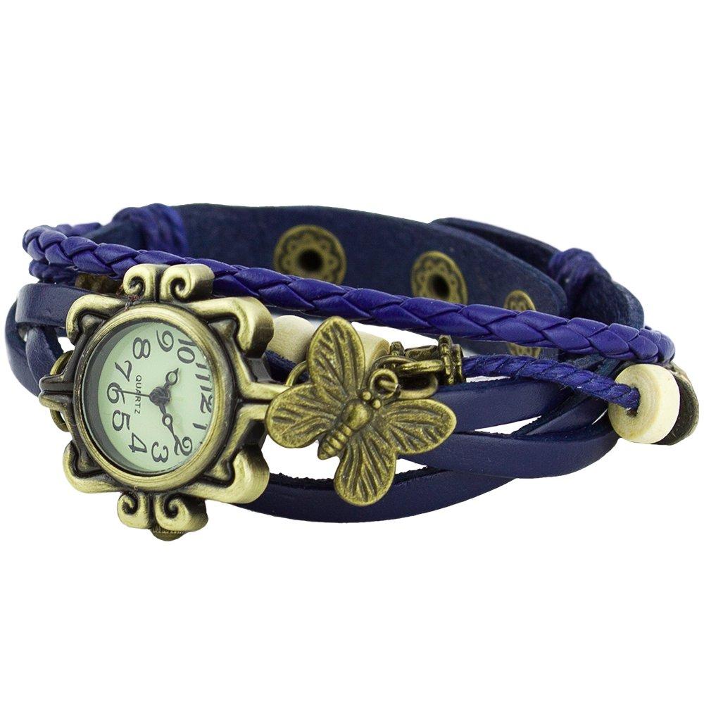 a1 damen retro leder armbanduhr schmetterling quartz strick uhr armreif blau. Black Bedroom Furniture Sets. Home Design Ideas