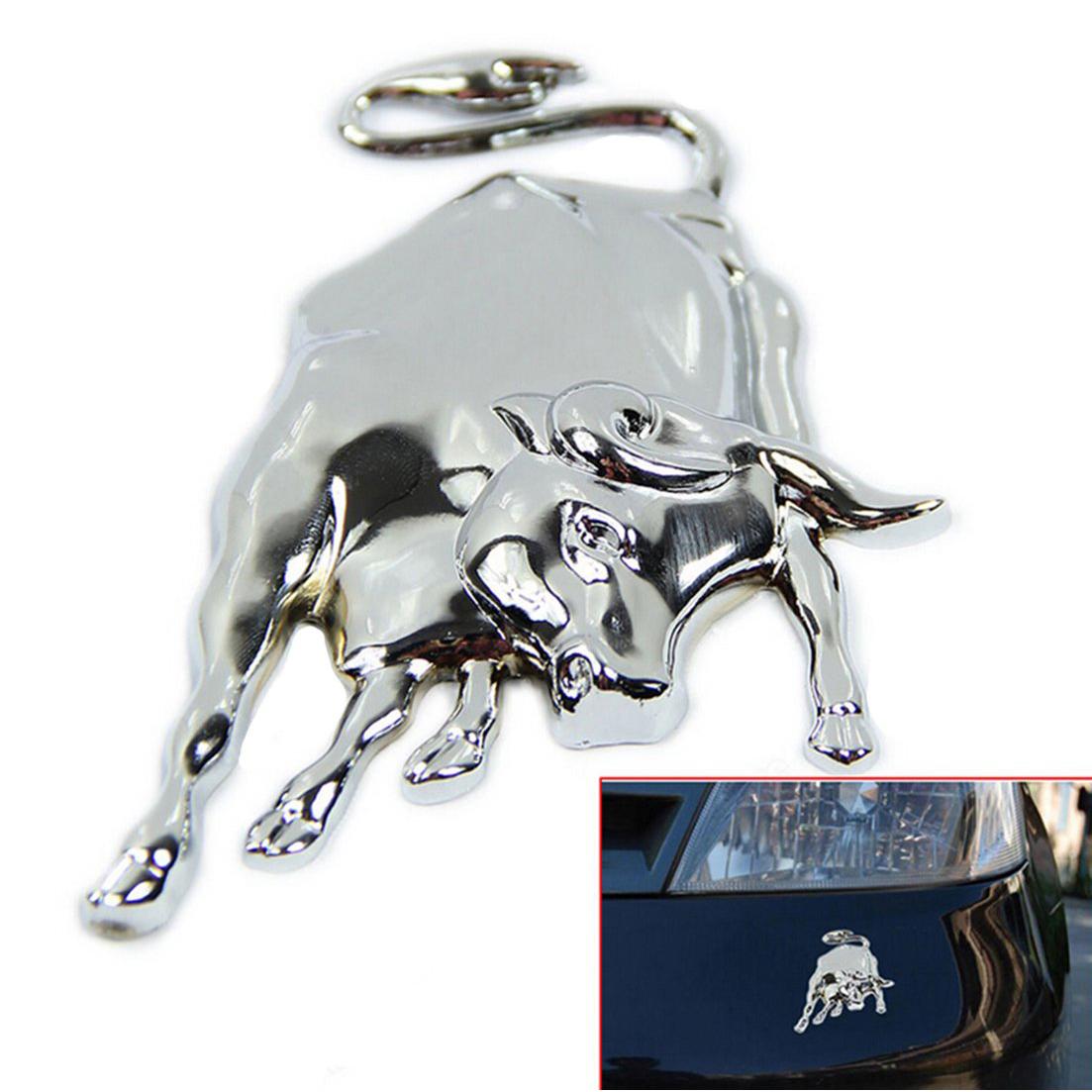 3d silver chrome metall stier emblem selbst lkw aufkleber gy ebay. Black Bedroom Furniture Sets. Home Design Ideas