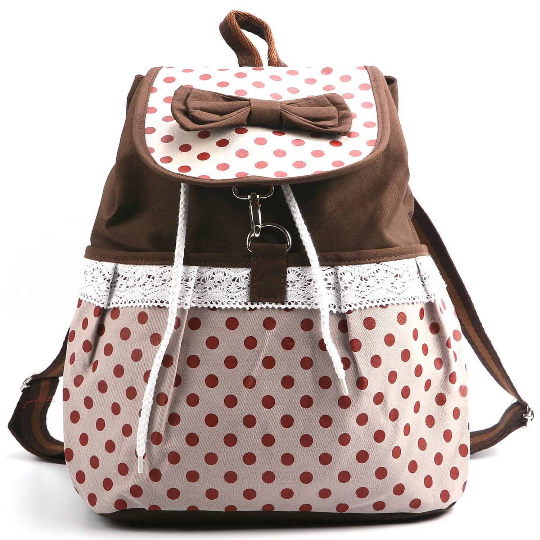 18cf women girl lace bow cute dots backpack bag satchel