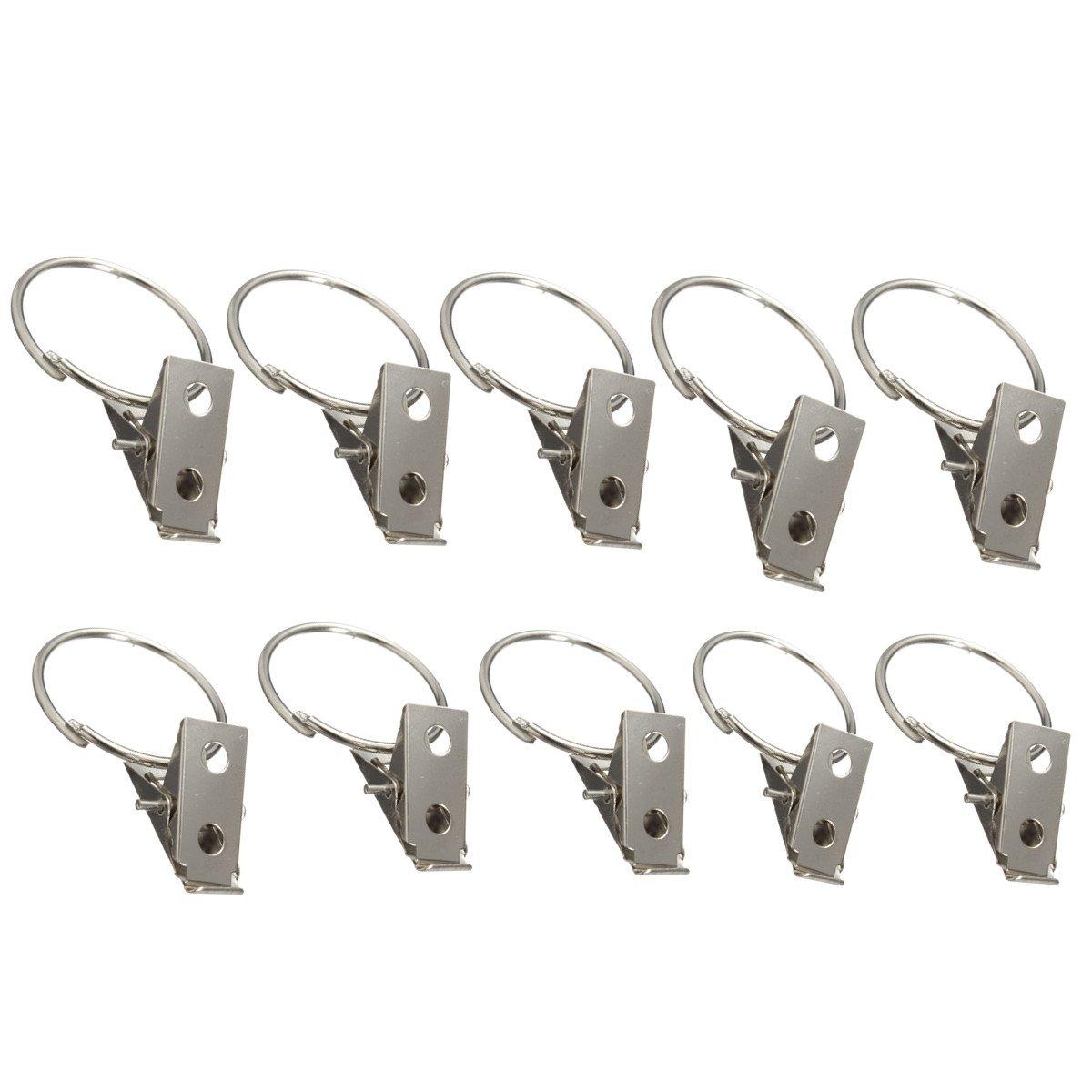 10pcs Metal Hooks Window Curtain Rod Clip Drapery Clips Rings Dm