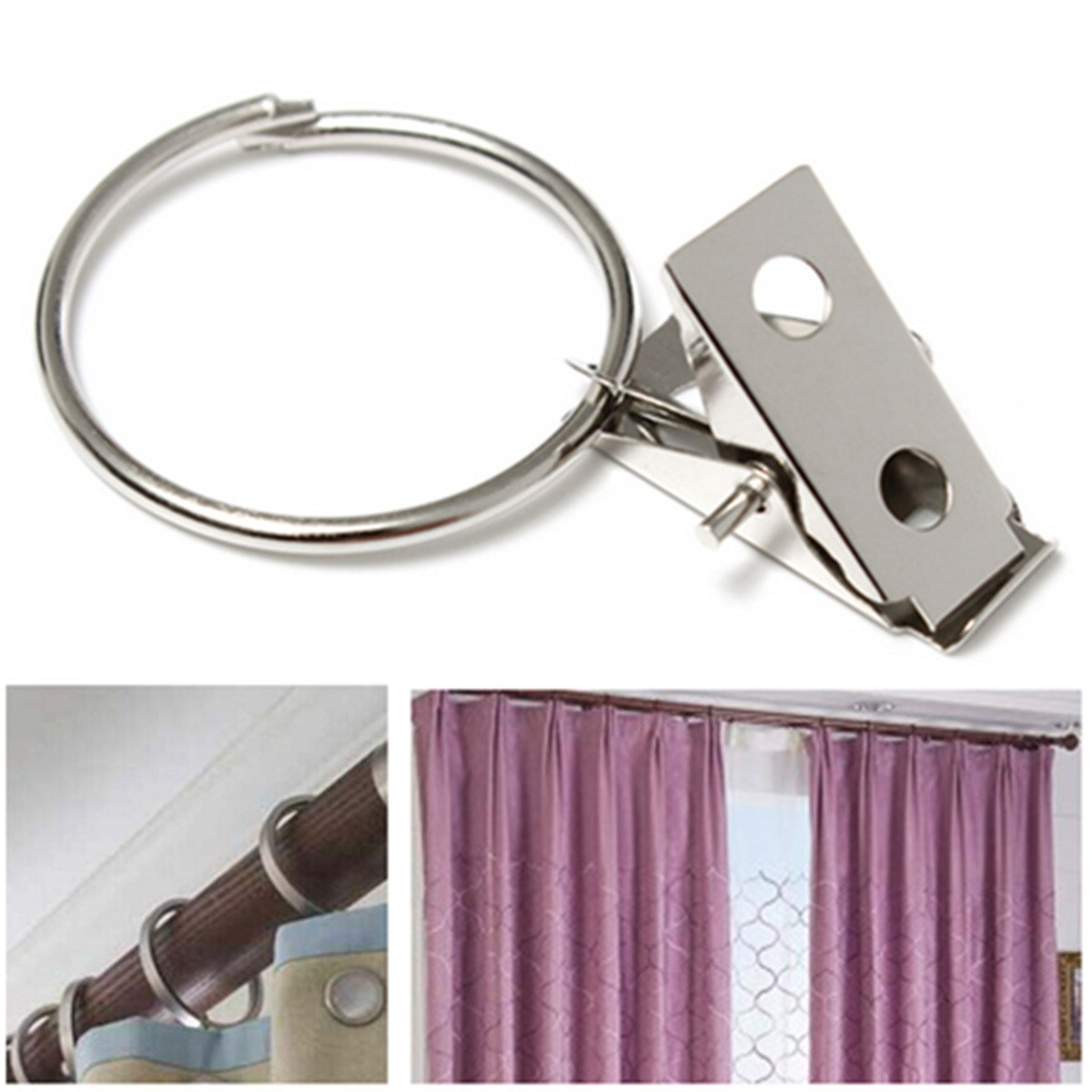 10pcs Metal Hooks Window Curtain Rod Clip Drapery Clips Rings Dw Ebay