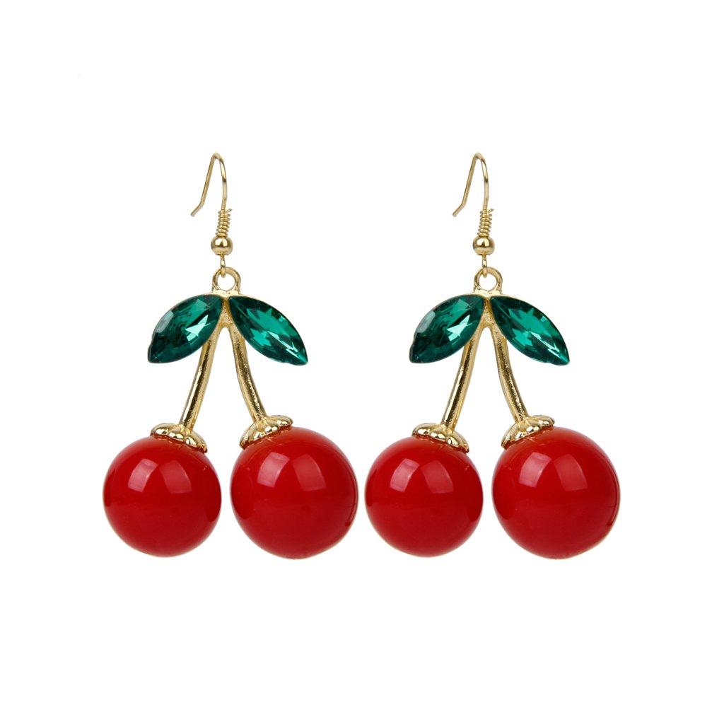 1 pair women fashion cherry drop dangles rhinestone ear studs earrings bt ebay - Poussette de boucle d oreille ...