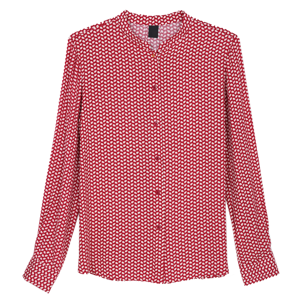 Women red leaves cotton blouses stand collar long sleeve for Stand collar shirt womens