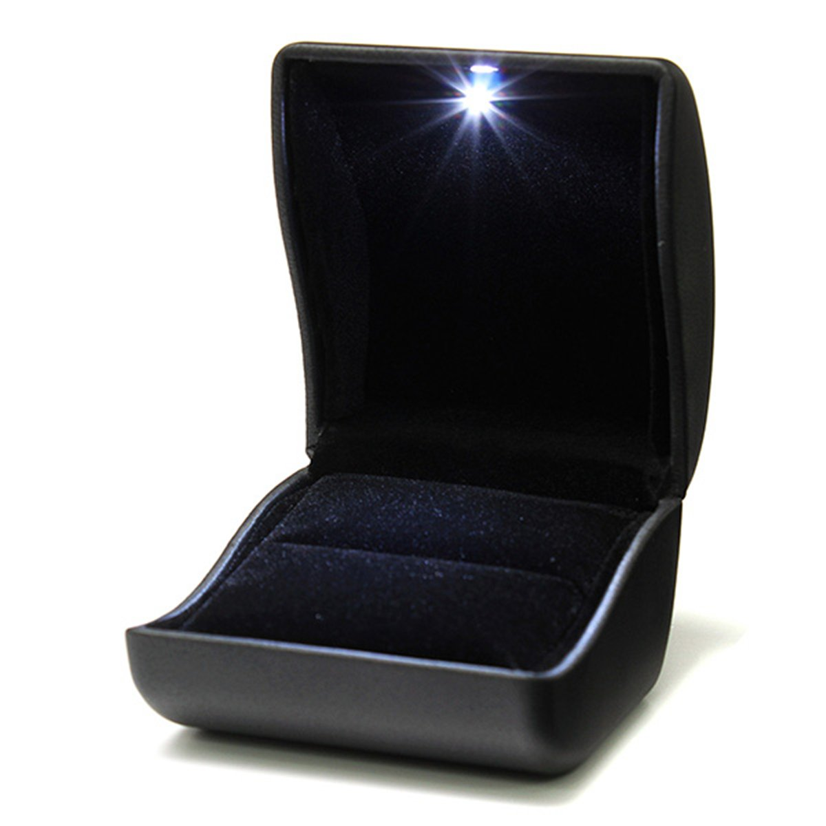 ring box jewelry gift wedding engagement black with