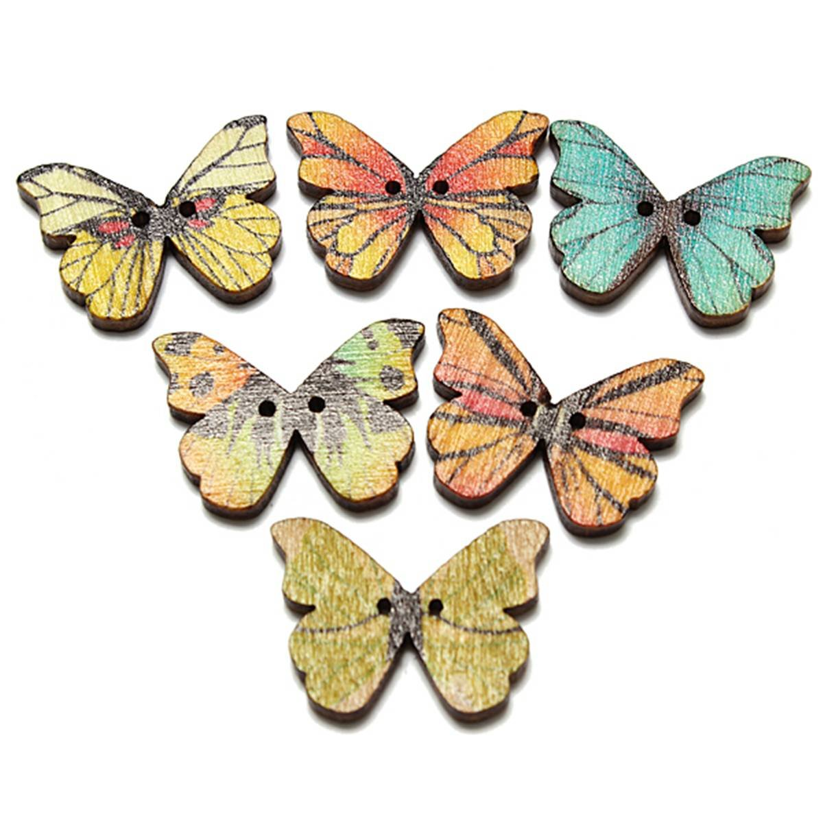 S3 2 holes mixed butterfly wooden buttons sewing for Random diys