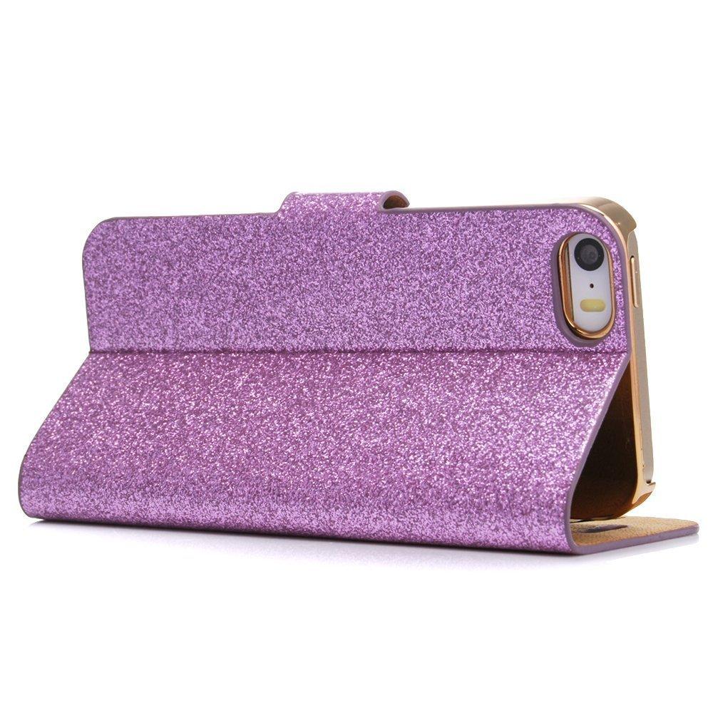 Silver-Glitter-Bling-Flip-Stand-Case-Cover-For-Iphone-4-4S-BG