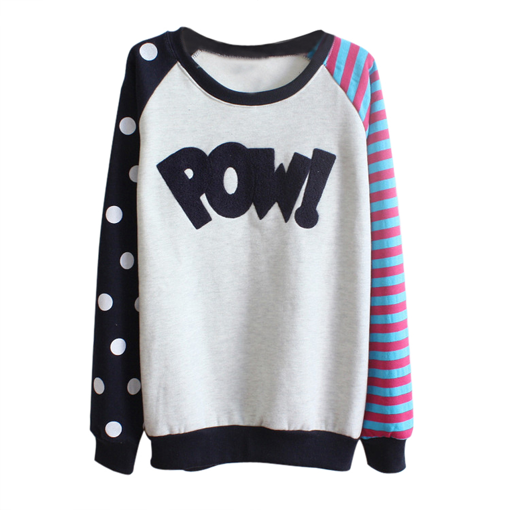 casual femme pull imprime lache polaire chandail sweat shirt col rond tops wt ebay. Black Bedroom Furniture Sets. Home Design Ideas