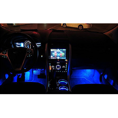 4 3led 12v vehicule interieur lumieres d 39 ambiance decoration lampe bleu wt ebay. Black Bedroom Furniture Sets. Home Design Ideas