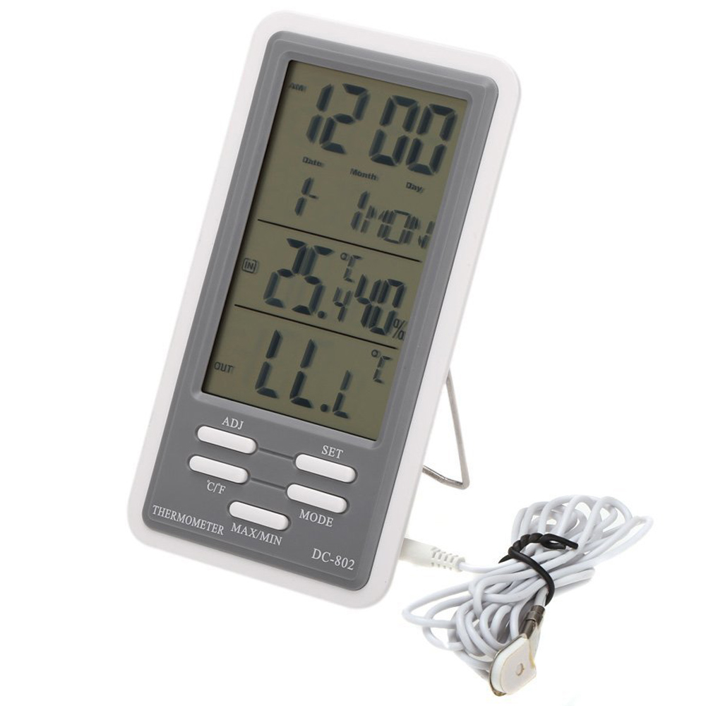 et lcd thermometer hygrometer uhr innen und aussenbereich mit kabel externer ebay. Black Bedroom Furniture Sets. Home Design Ideas